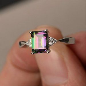 925 Silver Mystic Topaz Diamond Radiant Cut Ring